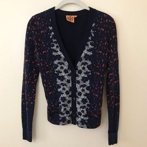 Tory Burch Patterned Button Front Cardigan Sweater